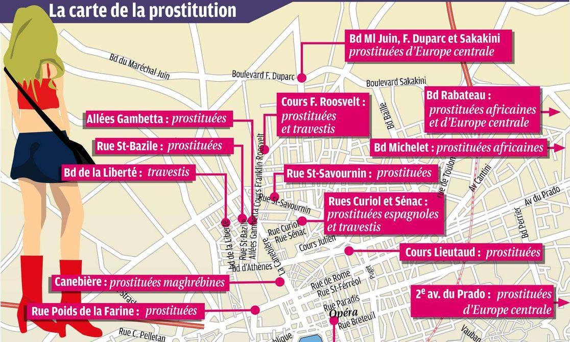 carte de la prostitution à Marseille